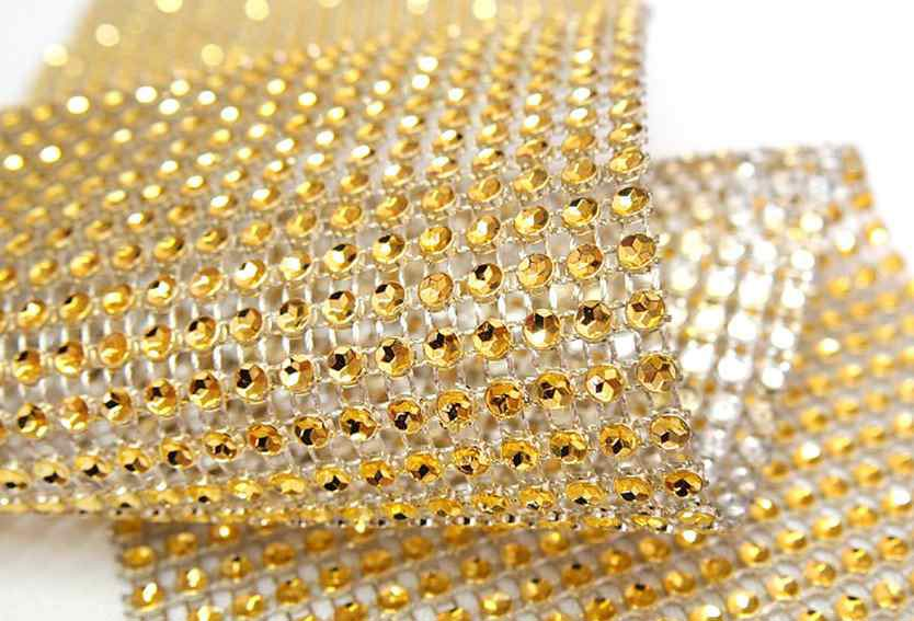 rouleau de strass diamant or